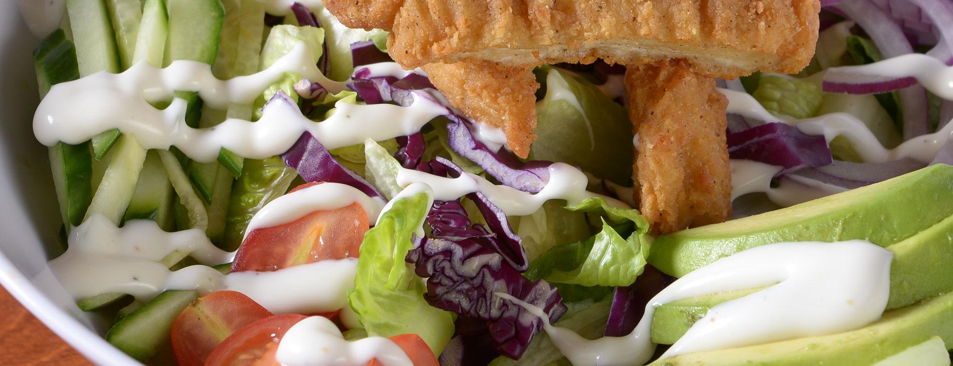 Battered Chicken in Salad